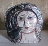 Lady with a Lyre Bird. Raku