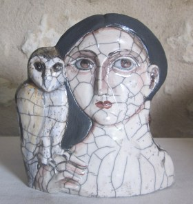 Lady with Owl. Raku