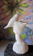 Martin-pêcheur sur un lotus. Sculpture. porcelaine. Pas disponible